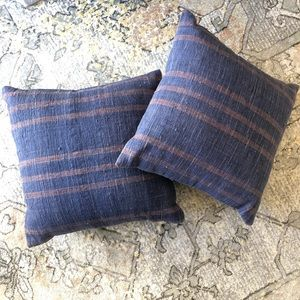 Other - 2 Turkish Kilim Indigo Stripe Pillows
